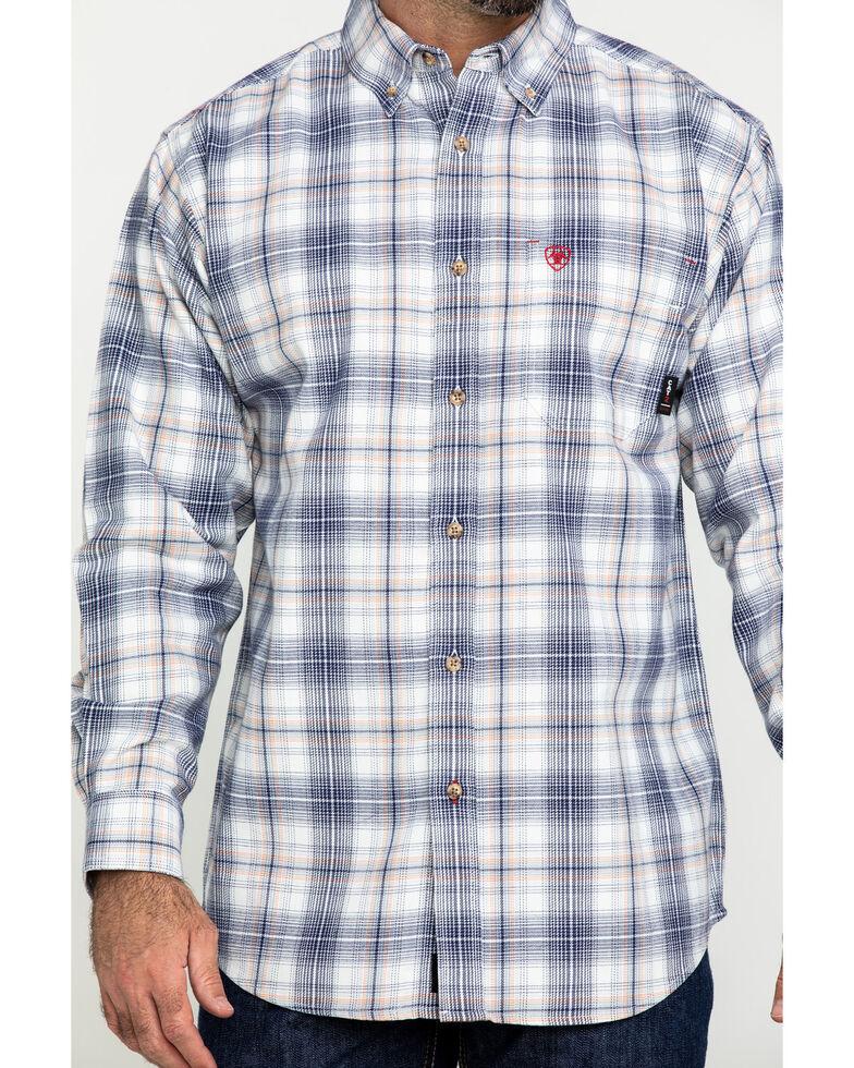 Ariat Men's FR White Foraker Plaid Long Sleeve Work Shirt - Big , No Color, hi-res