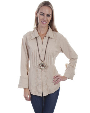 Cantina By Scully Women's Pleated Bodice Long Sleeve Blouse , Beige/khaki, hi-res