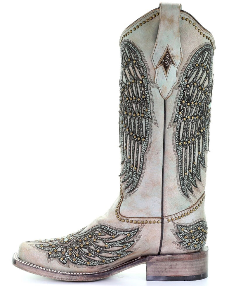 Corral Women's Turquoise Cross & Wings Overlay Western Boots - Square Toe, Turquoise, hi-res