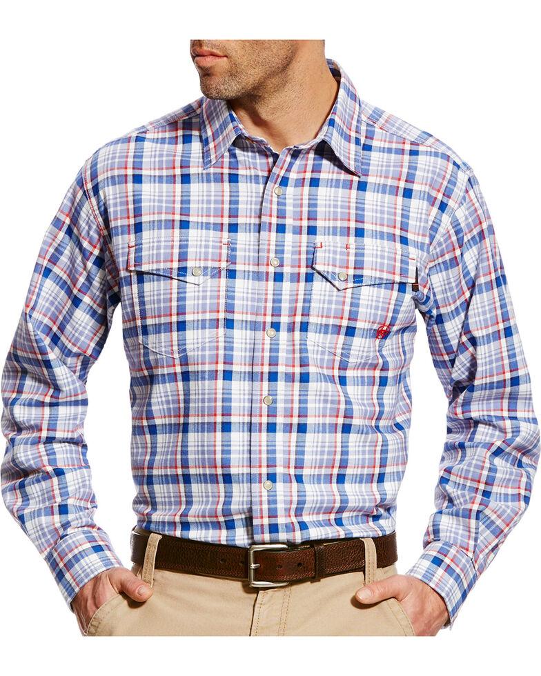 Ariat Men's Karnes Blue Multi FR Plaid Snap Work Shirt, Blue, hi-res