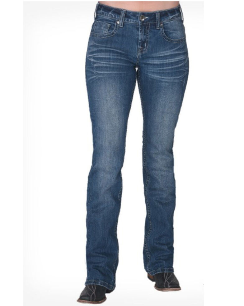 Cowgirl Tuff Women's Montana Medium Wash Aztec Bootcut Jeans , Blue, hi-res
