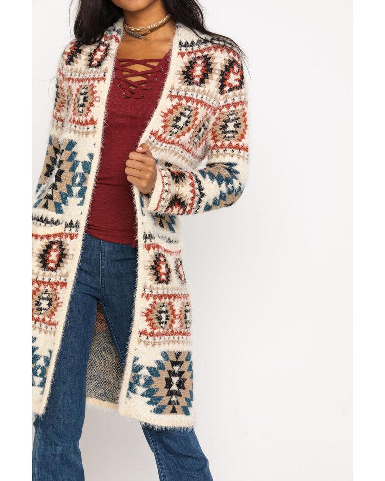 Shyanne Women's Eyelash Aztec Duster Cardigan , Ivory, hi-res