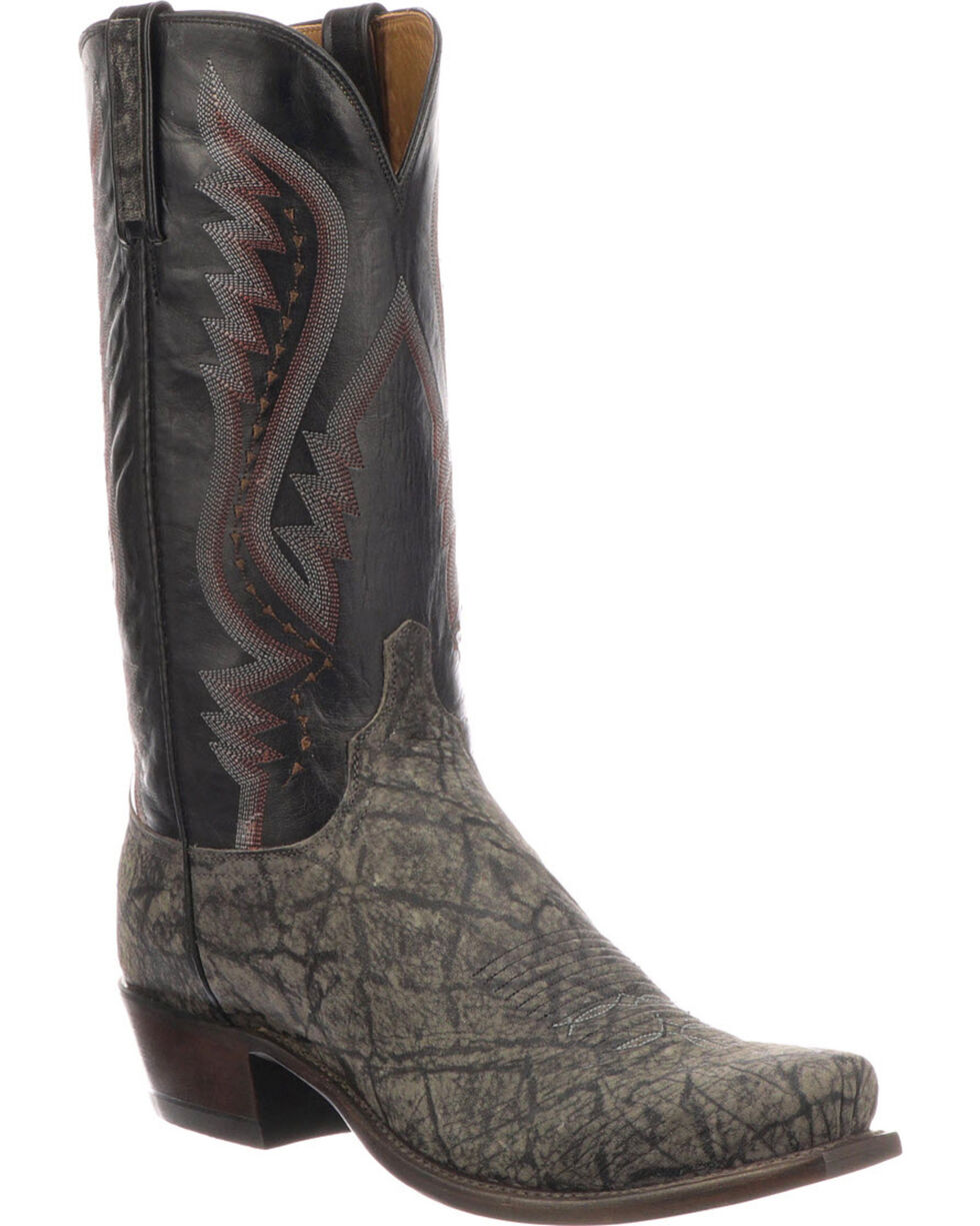 Lucchese Men's Handmade Creighton Grey Elephant Cowboy Boots - Square Toe, Grey, hi-res