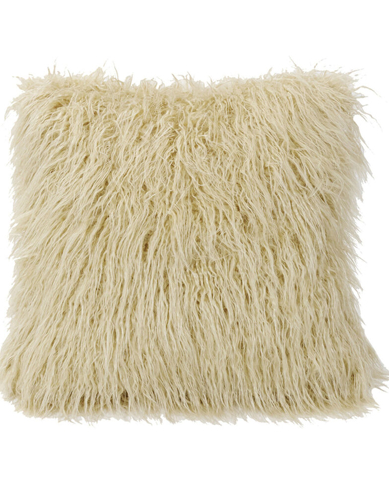 HiEnd Accents Mongolian Faux Fur Pillow, 18x18 Cream, Natural, hi-res