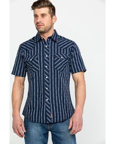 Wrangler Retro Men's Premium Dobby Striped Short Sleeve Western Shirt , Navy, hi-res
