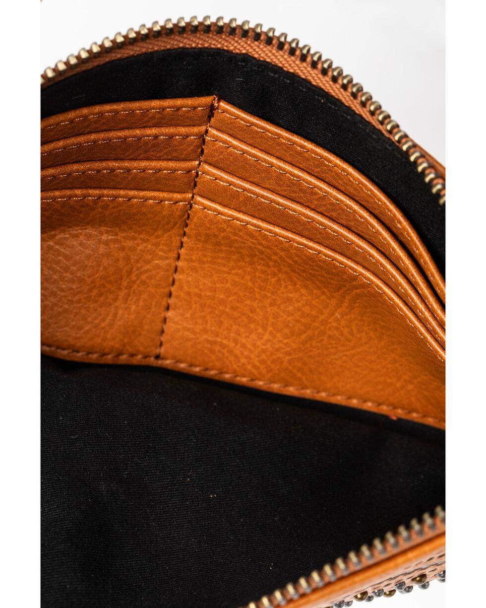 Shyanne Women's Diamond Stitch Center Concho Leather Wallet, Cognac, hi-res
