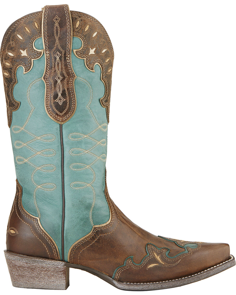 Ariat Women's Brown Zealous Barnwood Western Boots - Snip Toe , Brown, hi-res