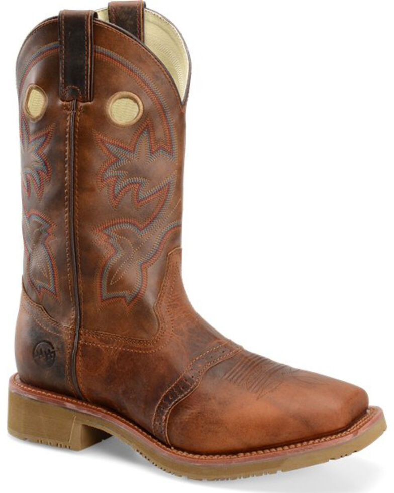 "Double H Men's 11"" Earthquake Rust ICE Western Work Boots - Square Toe, Tan, hi-res"