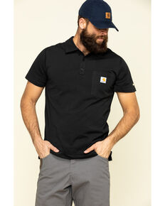 Carhartt Men's Black Force Cotton Pocket Polo Work Shirt - Big , Black, hi-res