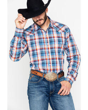 Roper Men's Amarillo Indigo Plaid Snap Long Sleeve Western Shirt , Blue, hi-res