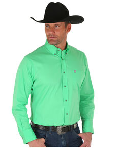 Wrangler Men's Green Soild Performance Long Sleeve Western Shirt , Green, hi-res
