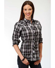 Karman Women's Black Rose Embroidered Plaid Long Sleeve Western Shirt, Black, hi-res
