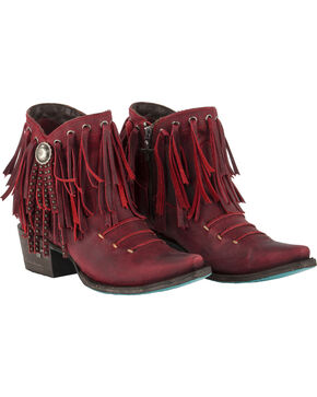 Lane Women's Red Suzanne Booties - Snip Toe , Red, hi-res