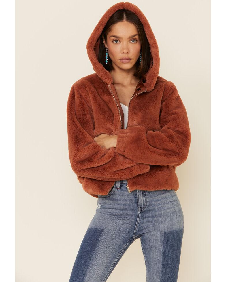 26 International Women's Rust Faux Fur Hooded Jacket , Rust Copper, hi-res