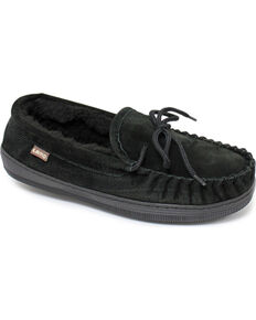 Chestnut Men's Leather Moccasin Slippers, Black, hi-res