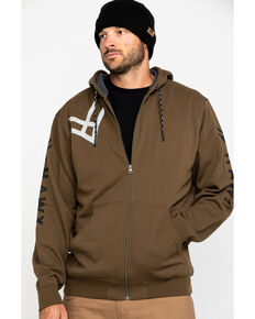 Hawx Men's Olive Sherpa Lined Full Zip Hooded Work Jacket , Olive, hi-res