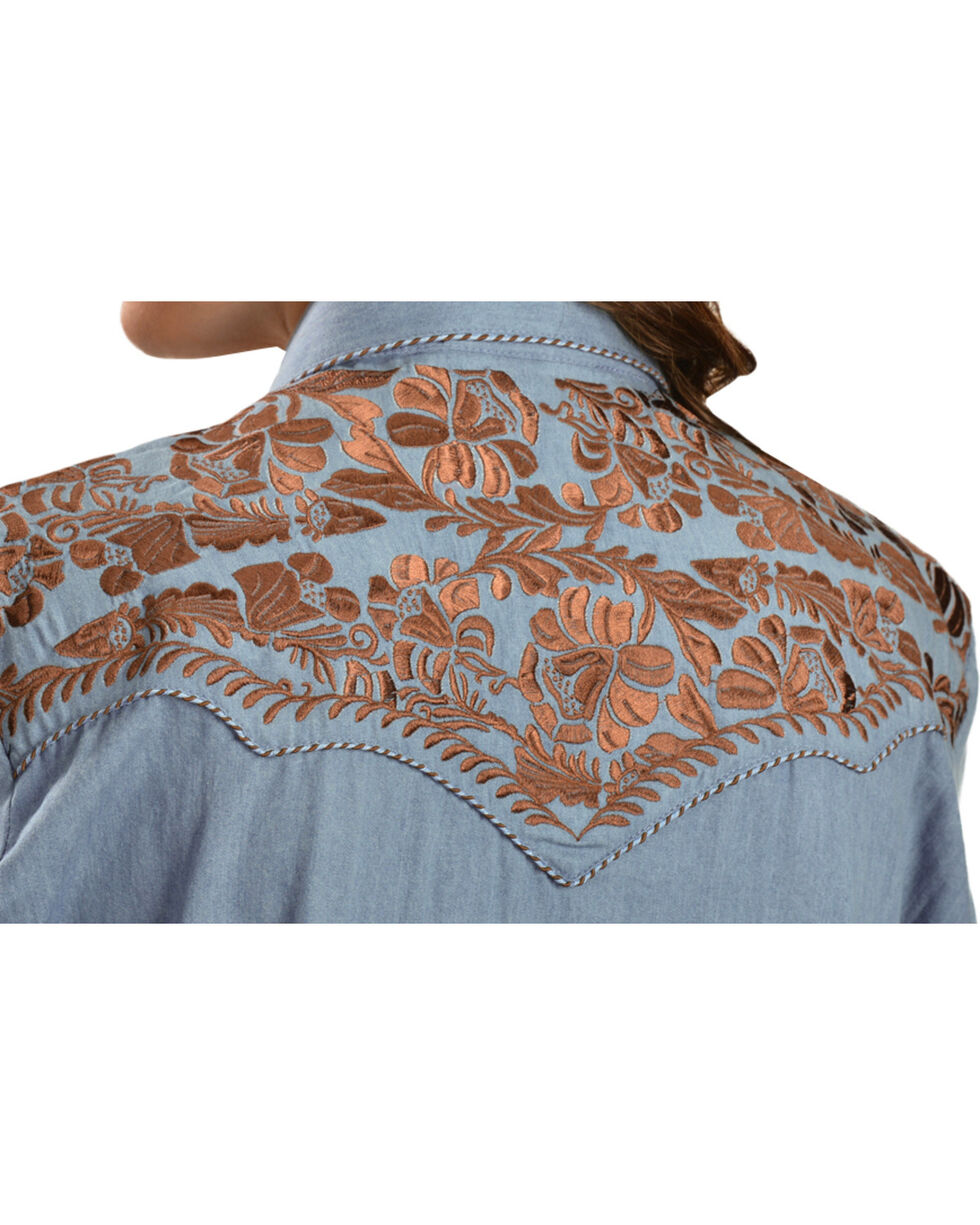 Scully Women's Floral Embroidered Long Sleeve Western Shirt, Blue, hi-res