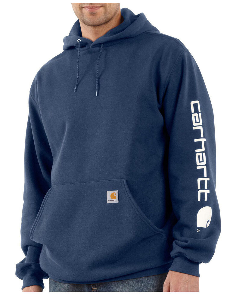 Carhartt Men's Hooded Logo-Sleeve Sweatshirt, Navy, hi-res