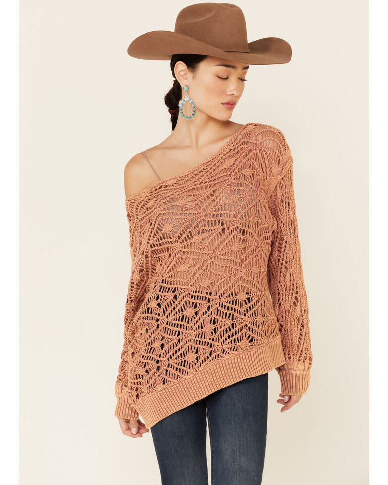 Revel Women's Clay Open Weave Off-Shoulder Pullover Sweater , Mauve, hi-res