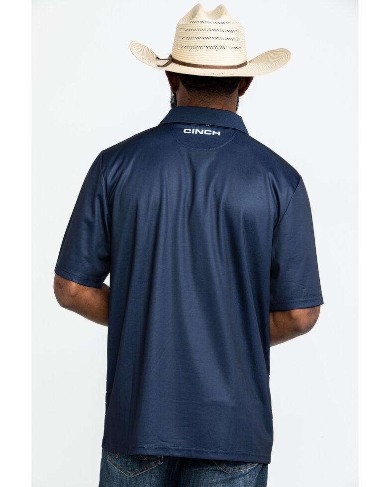 Cinch Men's Navy Striped Logo Short Sleeve Polo Shirt , Navy, hi-res