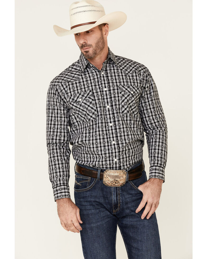 Rough Stock By Panhandle Men's Black Jacquard Plaid Long Sleeve Western Shirt , Black, hi-res