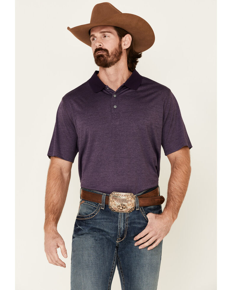 Cody James Core Men's Purple Burmuda Heather Short Sleeve Polo Shirt , Purple, hi-res