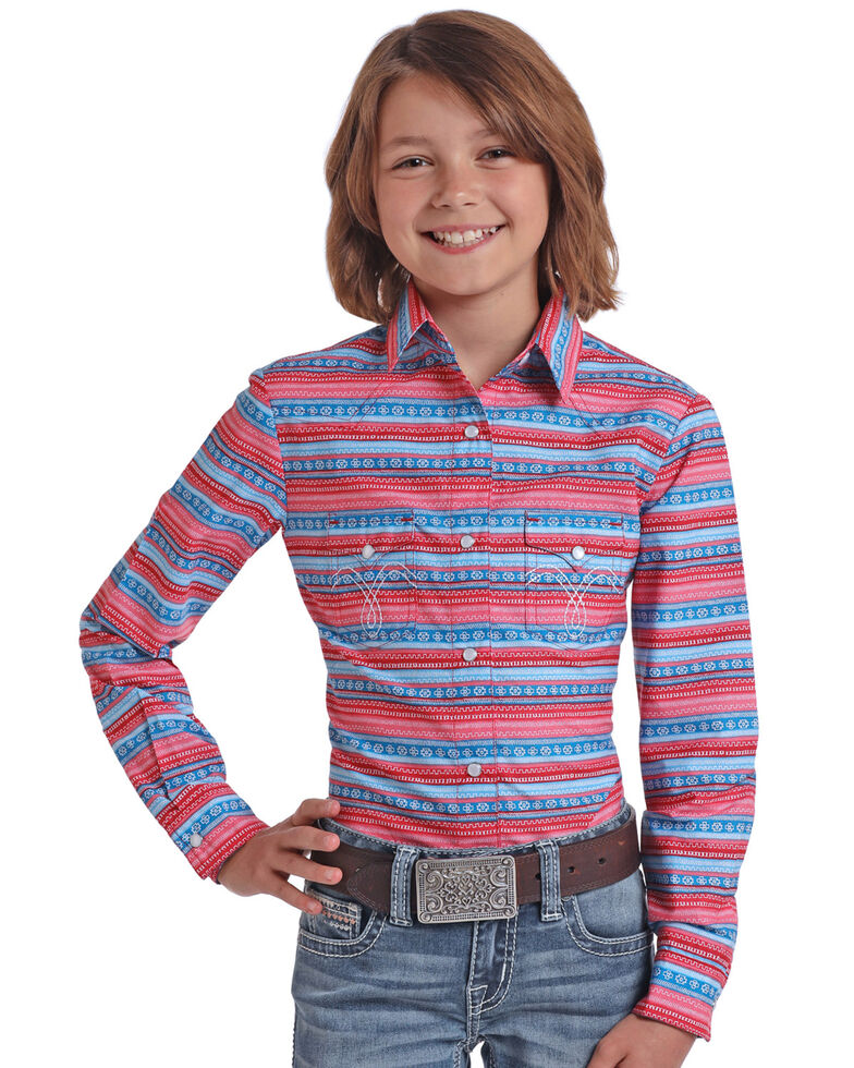 White Label by Panhandle Girls' Pink Aztec Snap Long Sleeve Western Shirt, Pink, hi-res