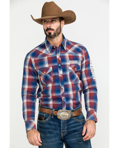 Rock & Roll Cowboy Men's Plaid Logo Long Sleeve Western Shirt , Red, hi-res