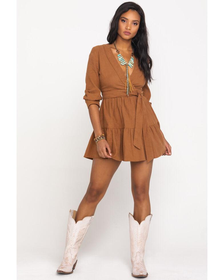 Very J Women's Wrap Corduroy Dress, Camel, hi-res