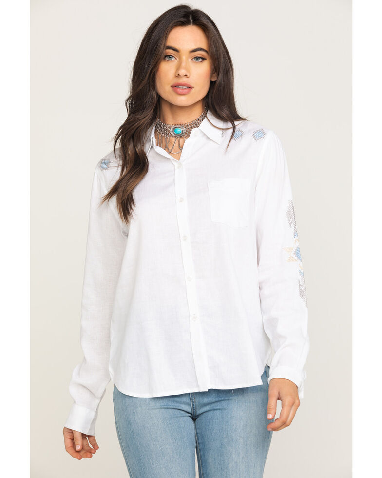 Stetson Women's Aztec Embroidered Long Sleeve Western Shirt, , hi-res