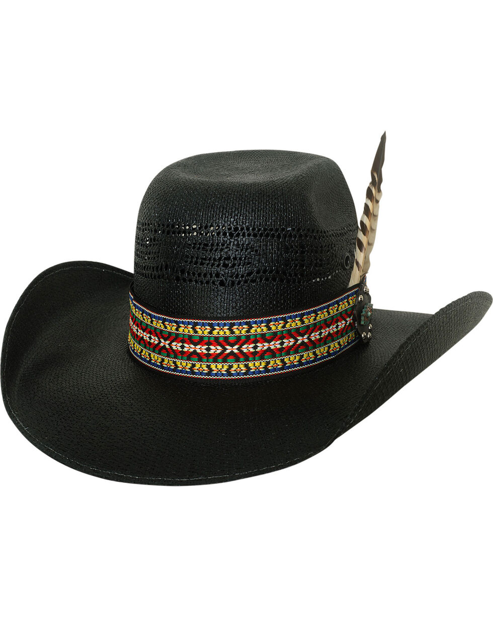 Bullhide Men's Rag Roper Black Straw Western Hat, Black, hi-res