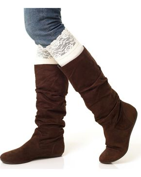 Darby's Lacie Lace Knee-High Boot Socks, Cream, hi-res