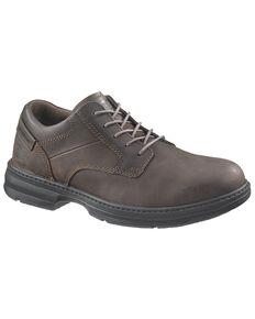 CAT Men's Steel Toe Oversee Oxford Work Shoes, Dark Brown, hi-res