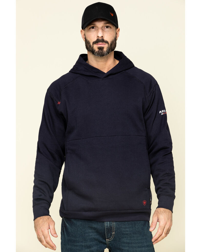 Ariat Men's FR Navy Rev Hooded Work Sweatshirt - Big , Navy, hi-res