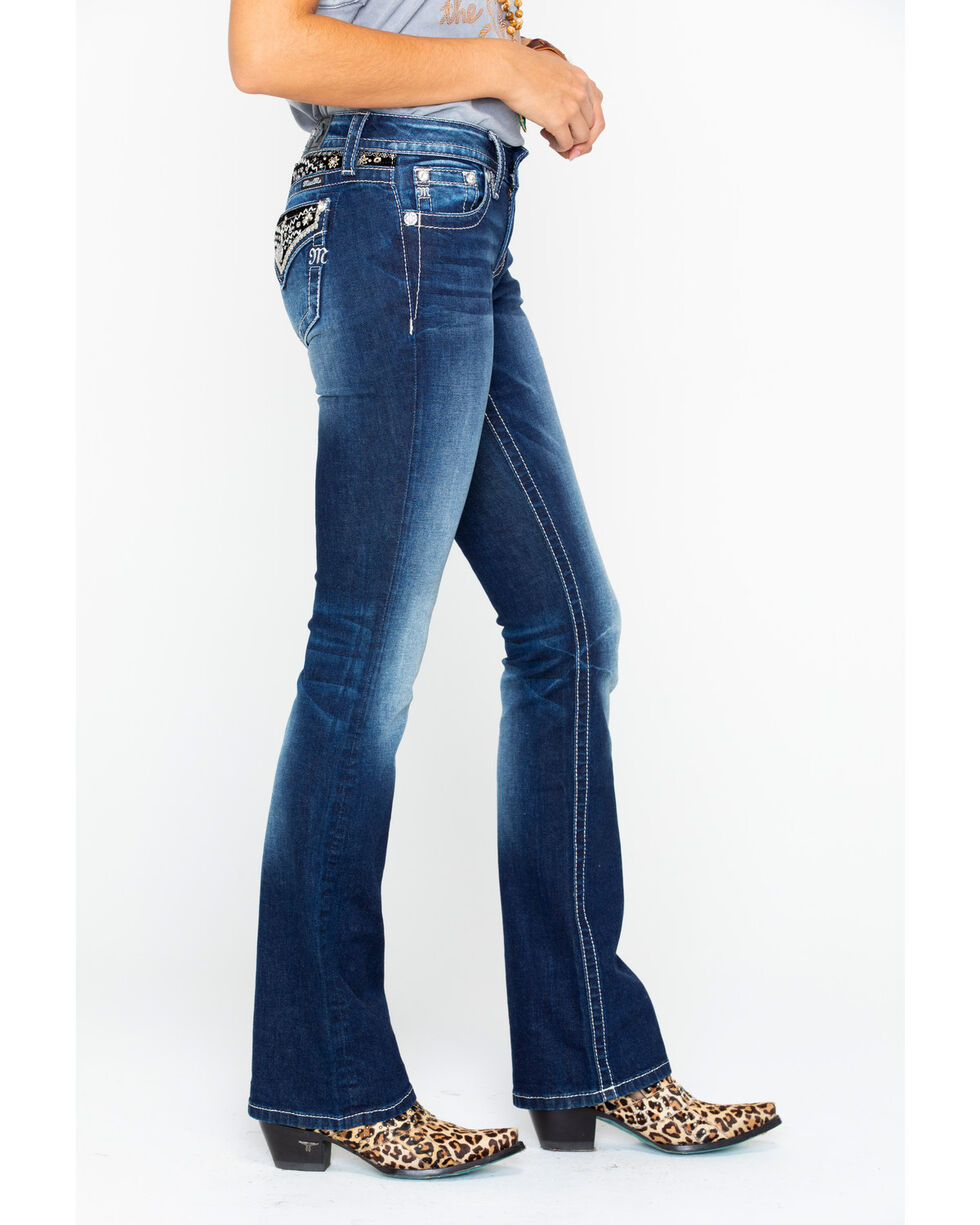 Miss Me Women's Embroidered Pocket & Yoke Boot Jeans, , hi-res