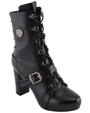 Milwaukee Leather Women's Block Heel Lace Front Boots - Round Toe, Black, hi-res