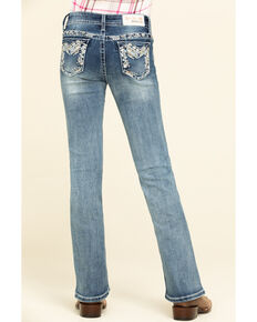 Grace in LA Girls' Light Wash Aztec Bootcut Jeans, Blue, hi-res
