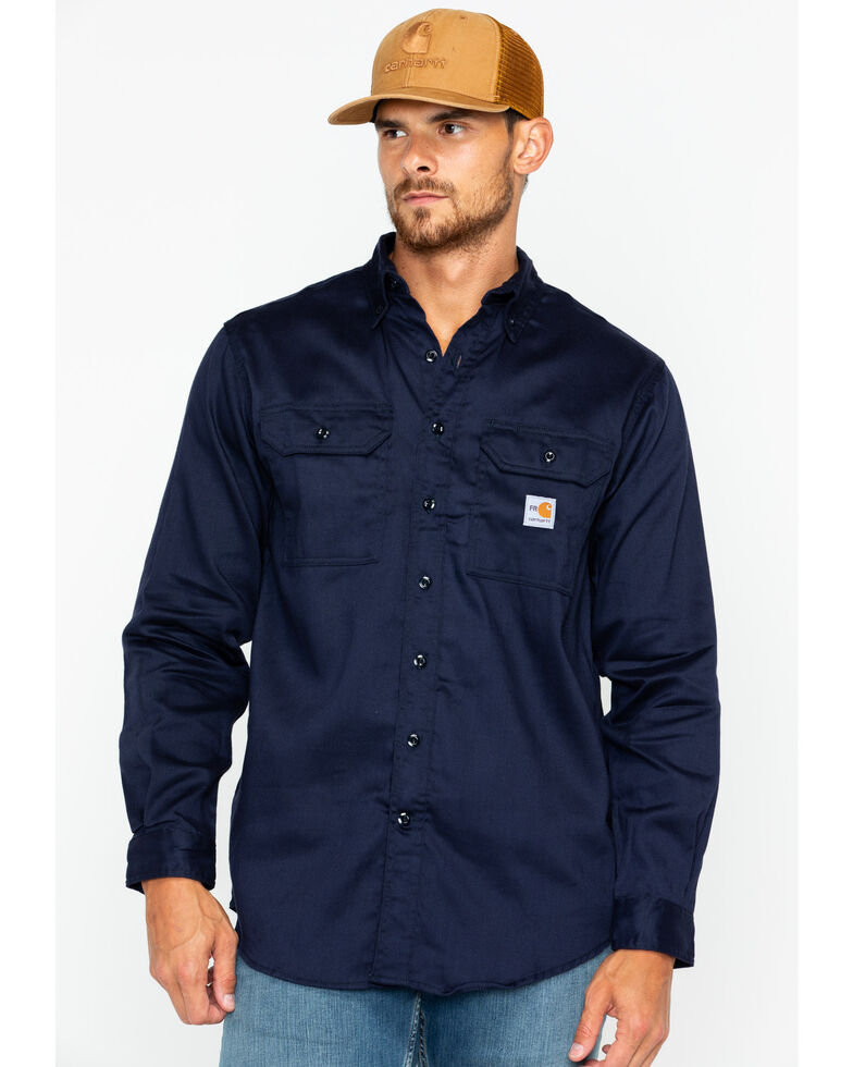 Carhartt Men's Flame Resistant Dry Twill Work Shirt - Big & Tall, Navy, hi-res