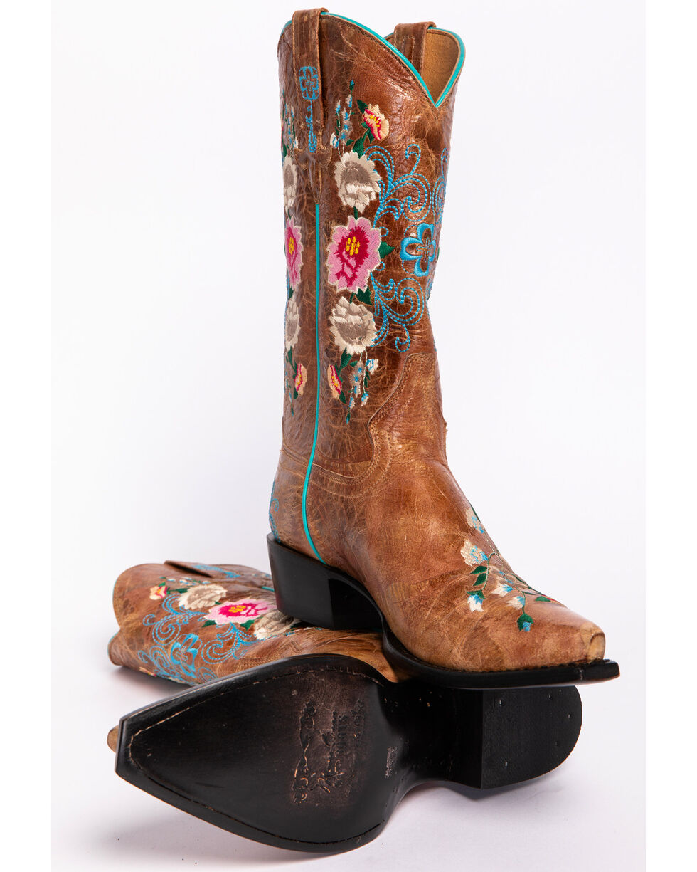 Macie Bean Rose Garden Cowgirl Boots - Snip Toe, Honey, hi-res
