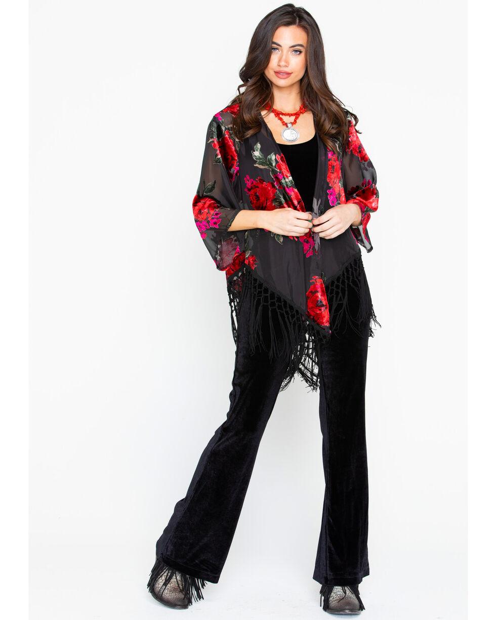 Wrangler Women's Velvet Burnout Fringe Cardigan, Black/red, hi-res