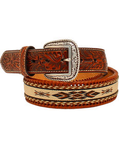 Ariat Embossed Tabs Ribbon Inlay Belt, Brown, hi-res