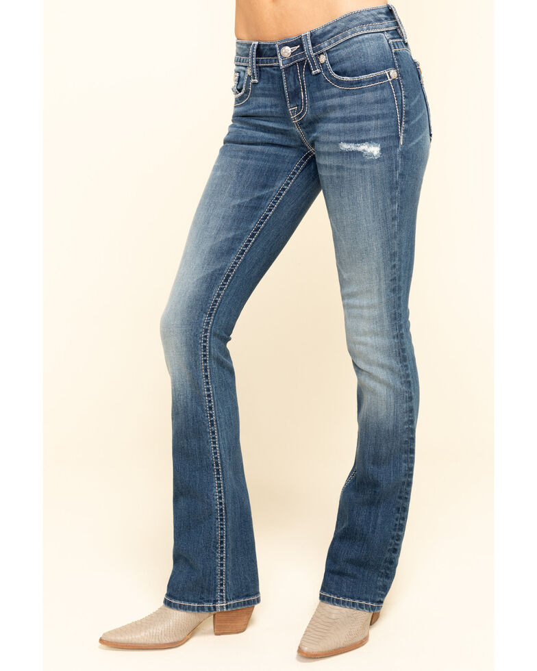 Miss Me Women's Medium Cowhide Flap Bootcut Jeans, Blue, hi-res