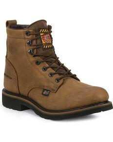 Justin Men's Wyoming Worker II Lace-Up Waterproof Work Boots, Brown, hi-res