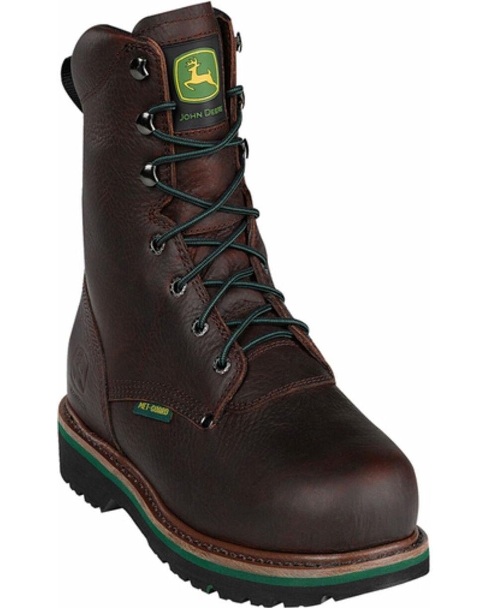 "John Deere® Men's 8"" Steel Toe Work Lace-Up Boots, Brown, hi-res"