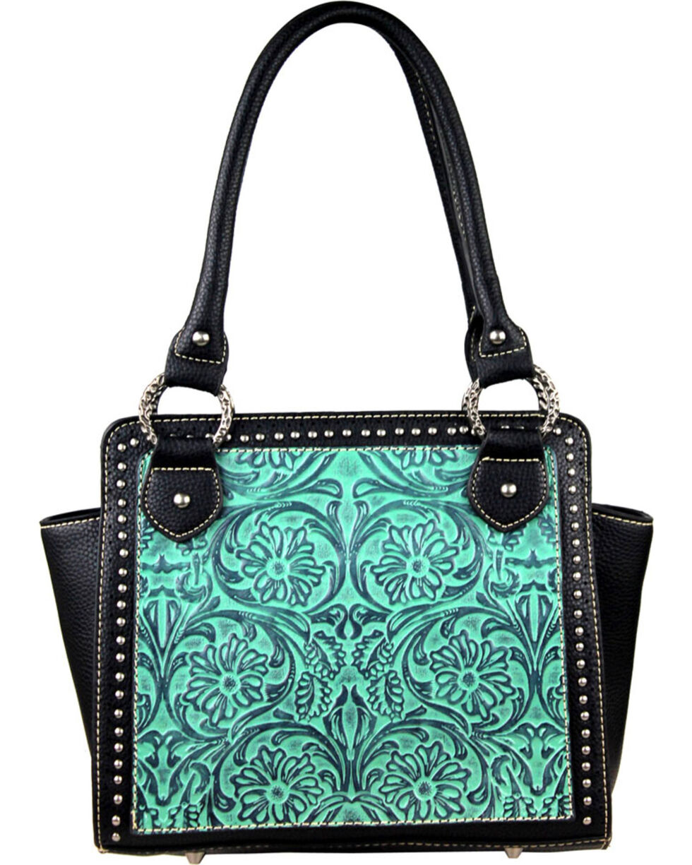 Montana West Trinity Ranch Turquoise Tooled Design Handbag, Turquoise, hi-res