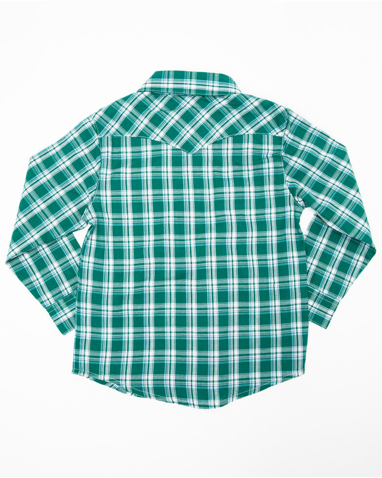 Wrangler Boys' Assorted Raita Plaid Button Long Sleeve Western Shirt , Multi, hi-res