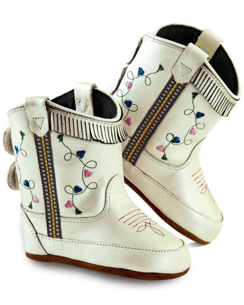 Old West Girls' Infant White Poppets - Round Toe, Silver, hi-res