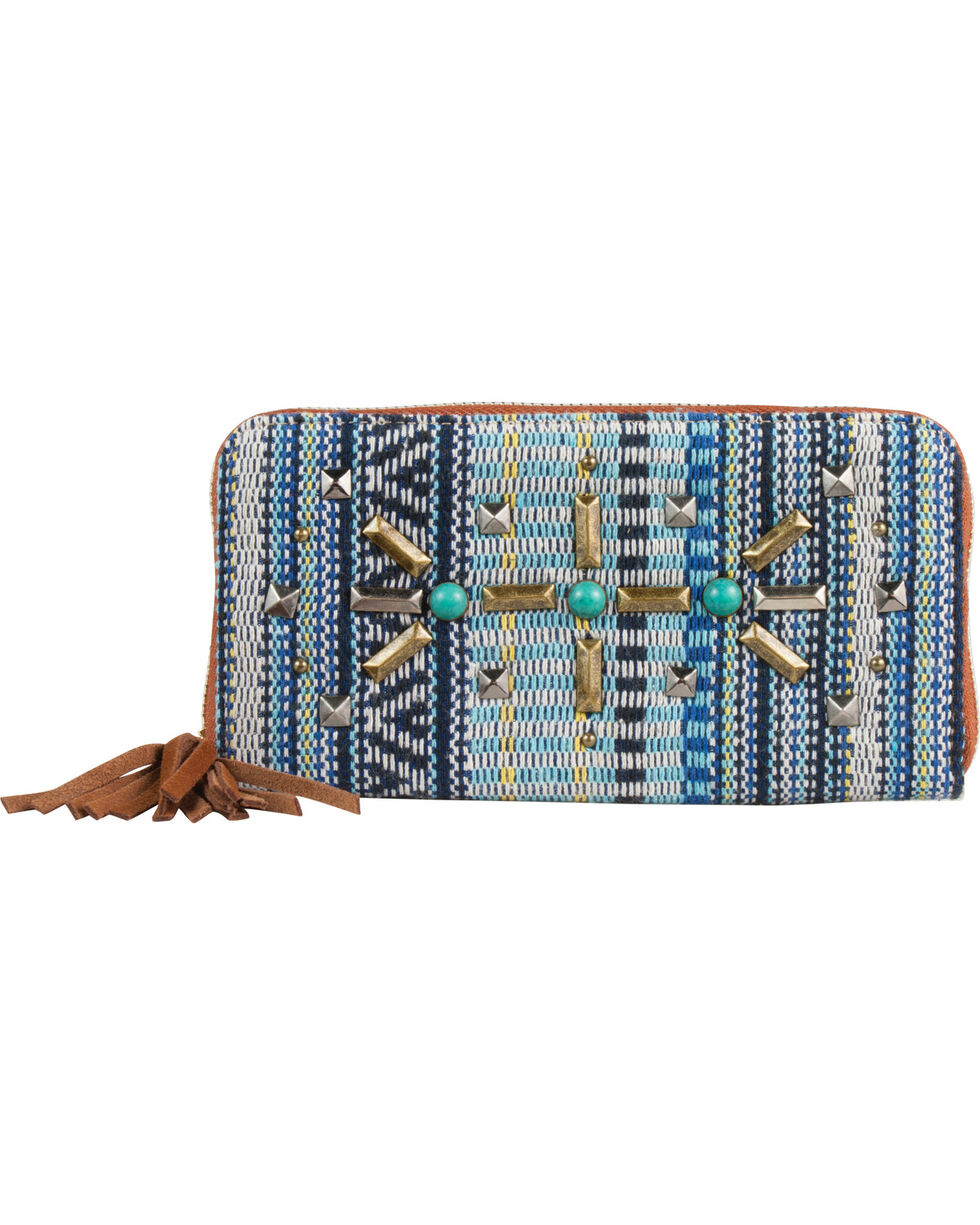 Catchfly Women's Blue Woven Wallet , Blue, hi-res