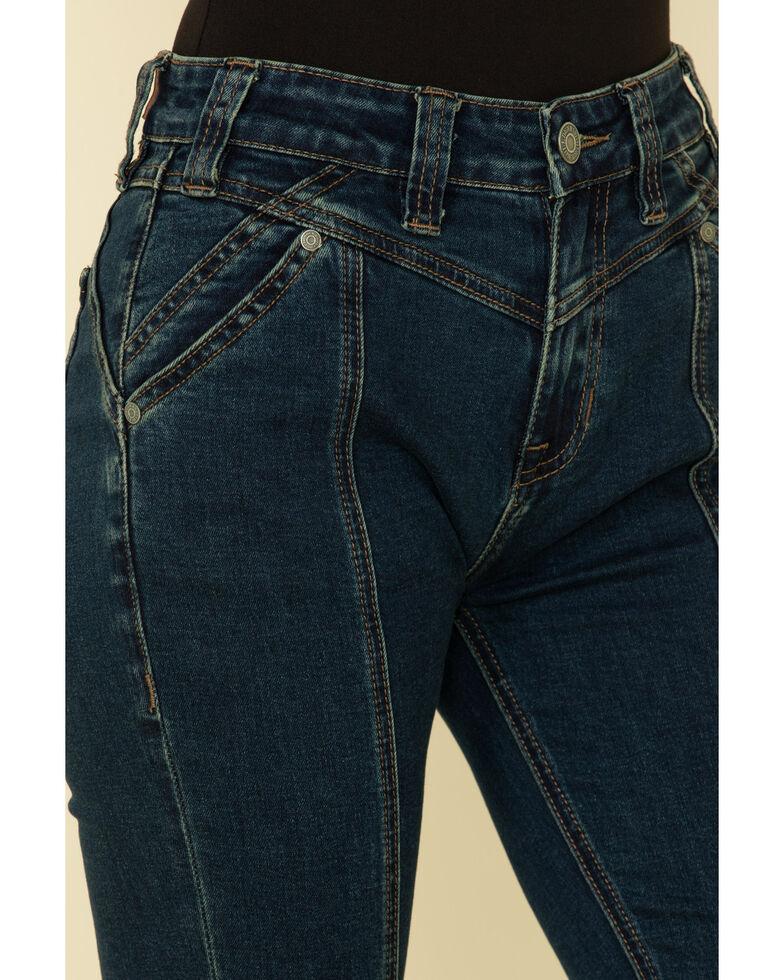 Rock & Roll Denim Women's Dark Wash Front Seam Flare Jeans, Blue, hi-res
