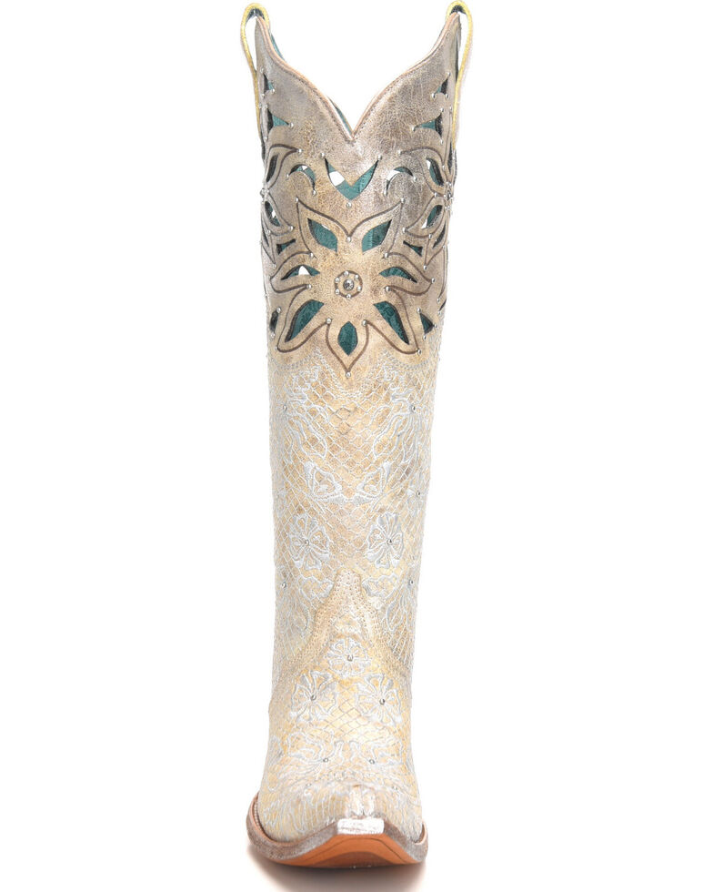 Corral Women's Metallic Cutout Embellished Cowgirl Boots - Snip Toe, Beige/khaki, hi-res